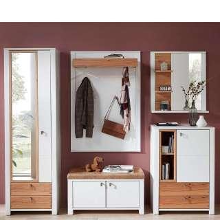 Dielenmöbel Set in Weiß und Wildbuchefarben modern (5-teilig)