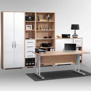 Bürokombination in Weiß und Sonoma Eiche Made in Germany (6-teilig)