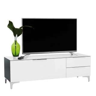 TV Kommode in Weiß Glas beschichtet Schwarz
