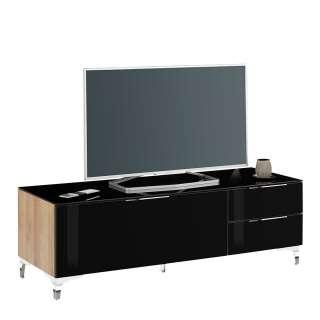 TV Unterschrank in Schwarz Glas beschichtet Eiche Optik