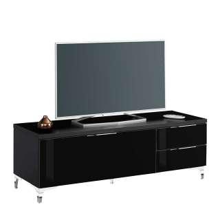 Fernsehlowboard in Schwarz Glas beschichtet 135 cm breit