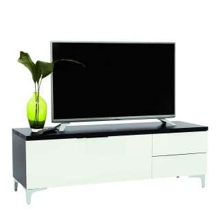 Fernsehboard in Weiß und Schwarz Glas beschichtet