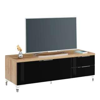 TV Board in Eiche und Schwarz Glas beschichtet 135 cm breit