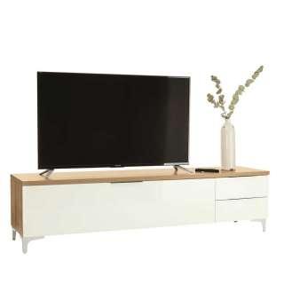TV Sideboard in Weiß und Eiche Optik 135 cm breit