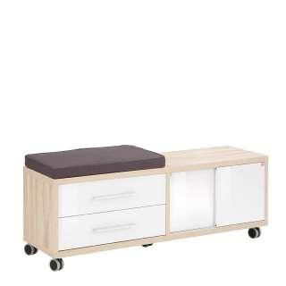 Bürorollcontainer mit Sitzfläche Weiß und Eiche Optik