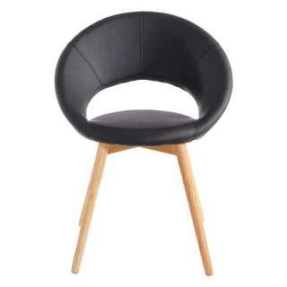 Tischsessel in Schwarz Kunstleder Massivholzgestell (2er Set)
