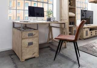 Schreibtisch Mango 140x78x80 whitewashed lackiert RAILWAY #329