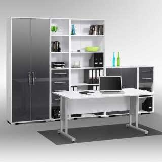 Büromöbel Komplettset in Weiß Hochglanz und Grau Made in Germany (6-teilig)