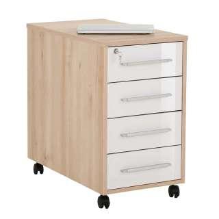 Bürorollcontainer in Weiß Hochglanz und Buche Optik abschließbar