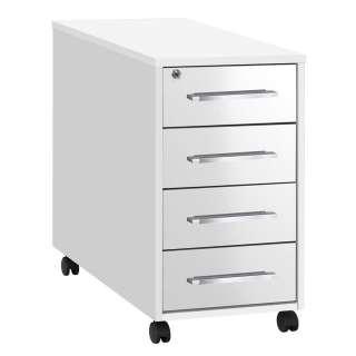 Schreibtischrollcontainer in Weiß Hochglanz abschließbar