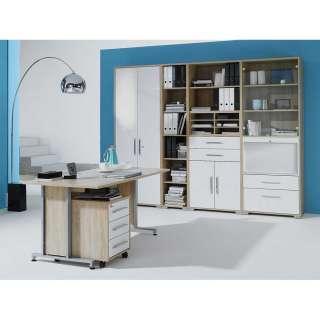 Büro Kombination in Weiß Hochglanz und Sonoma Eiche Made in Germany (6-teilig)