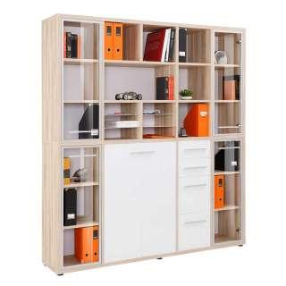 Büro Regalkombination in Weiß und Eiche Optik 195 cm breit