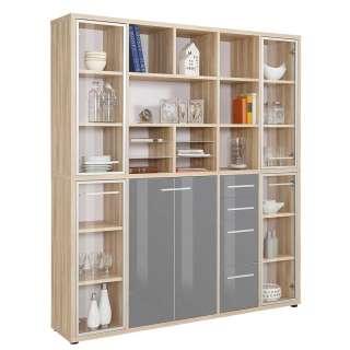 Bürowand in Grau und Eiche Optik 195 cm breit