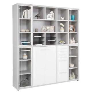 Büro Regalwand in Grau und Weiß 195 cm breit