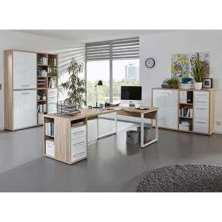 Arbeitszimmer Set in Eichefarben und Weiß Glas beschichtet (3-teilig)