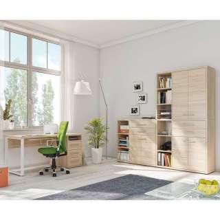 Bürokombination in Eichefarben und Weiß Made in Germany (3-teilig)