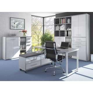 Arbeitszimmermöbel Set in Grau und Weiß Glas beschichtet (4-teilig)