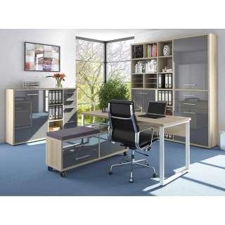 Büroausstattung in Grau und Eiche Optik Glas beschichtet (4-teilig)