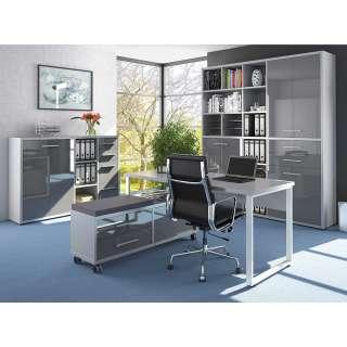 Büromöbel Komplettset in Grau und Weiß Made in Germany (4-teilig)