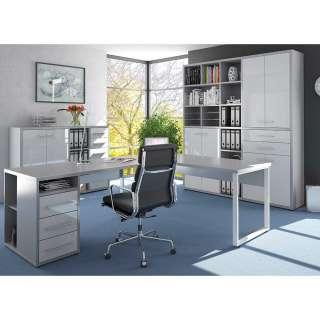 Büromöbel Set in Weiß und Grau Made in Germany (3-teilig)