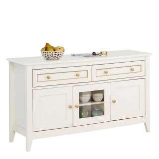 Küchensideboard in Creme Weiß und Goldfarben einer Glastür