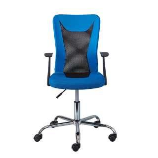 Schreibtischstuhl in Blau und Schwarz Mesh