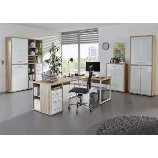Komplettbüro in Weiß und Eiche Optik Glas beschichtet (4-teilig)