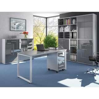 Bürokombination in Grau und Weiß Glas beschichtet (4-teilig)