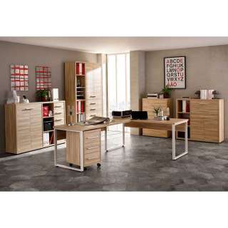 Büromöbel Set in Weiß und Eiche Optik komplett (6-teilig)