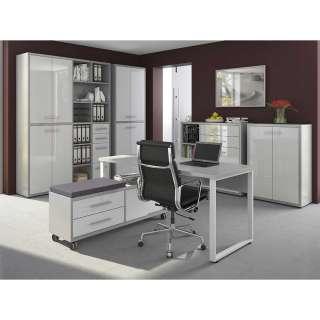 Arbeitszimmermöbel Set in Grau und Weiß Glas beschichtet (6-teilig)