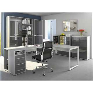 Büroausstattung in Grau und Weiß Glas beschichtet (5-teilig)