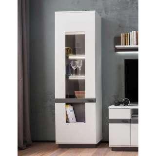 Wohnzimmervitrine in Weiß und Grau 60 cm breit