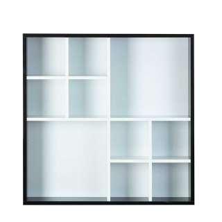 Wandhängeregal in Weiß und Schwarz 70 cm breit