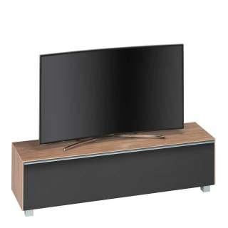 Fernseh Unterschrank in Schwarz und Eiche Optik Akustikstoff