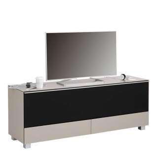TV Lowboard in Beige und Schwarz Akustikstoff