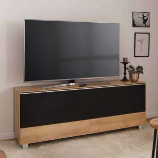 TV Lowboard in Eichefarben Akustikstoff