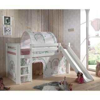 Kinder Halbhochbett in Weiß Kiefer Massivholz