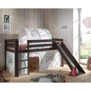 Kinder Halbhochbett in Taupe Kiefer Massivholz