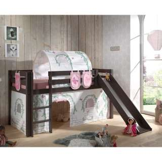 Kinderspielbett in Taupe Kiefer massiv Vorhang