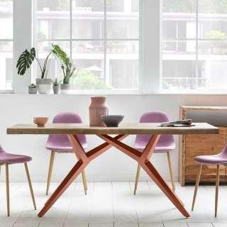 Ausziehtisch in Weiß und Buchefarben ovale Tischform