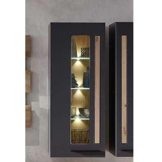 Wandvitrine in Wildeichefarben und Dunkelgrau LED Beleuchtung