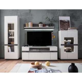 Wohnzimmer Anbauwand in Weiß und Grau 285 cm breit (4-teilig)