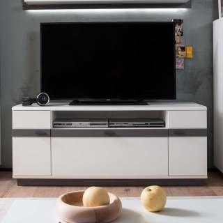 TV Board in Weiß und Grau Klappe