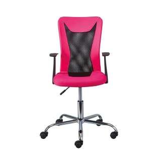 Schreibtischstuhl in Pink und Schwarz höhenverstellbar