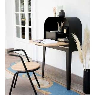 Schreibtisch Schrank in Schwarz und Eiche modern