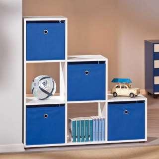 Treppen Regal in Weiß 4 Boxen in Blau