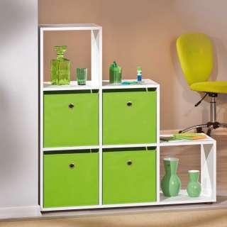 Regal in Treppenform hellgrünen Boxen