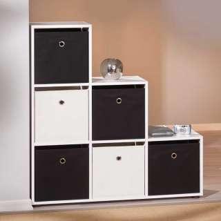 Boxenregal in Schwarz und Weiß 105 cm breit