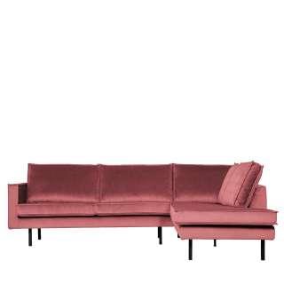 Sofa Eckgarnitur in Pink Samt Retro Design