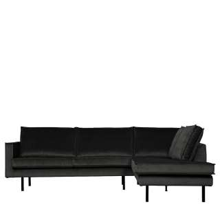 L Sofa in Anthrazit Samt 45 cm Sitzhöhe